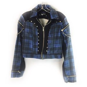 LIP SERVICE | jacket cropped punk Moto plaid L